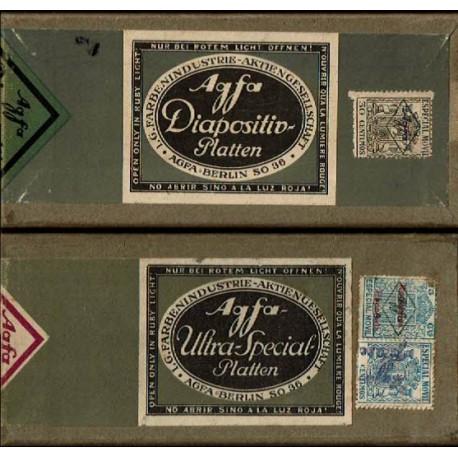 Lote de dos cajas de placas fotográficas de vidrio de la zona de Levante (años 30).